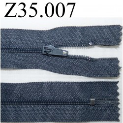 fermeture éclair longueur 35 cm couleur gris bleuté non séparable zip nylon largeur 2.5 cm