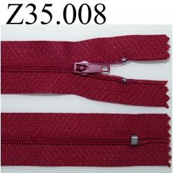 fermeture éclair longueur 35 cm couleur bordeau non séparable zip nylon largeur 2.5 cm
