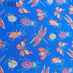 Tissu lycra très haut de gamme couleur bleu avec des motifs insectes en relief largeur 130 cm  prix pour pour 10 cm  par 130 cm