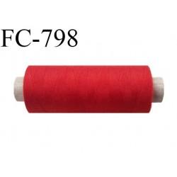 Bobine 500 m fil Polyester n° 120  rouge 500 mètres fil européen bobiné en Europe ou France certifié oeko tex