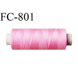 Bobine 500 m fil Polyester n° 120  couleur rose malabar 500 mètres fil européen bobiné en Europe ou France certifié oeko tex