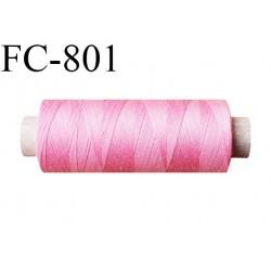 Bobine 500 m fil Polyester n° 120 rose malabar 500 mètres fil européen bobiné en Europe ou France certifié oeko tex