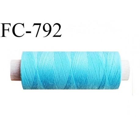 Bobine 500 m fil Polyester n° 120  bleu turquoise 500 mètres fil européen bobiné en Europe ou France certifié oeko tex