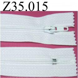 fermeture  éclair longueur 35 cm couleur blanc non séparable zip nylon largeur 2.5 cm