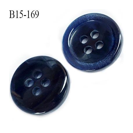 bouton 15 mm  pvc haut de gamme couleur  noir veiné une face et noir bleu brillant sur l'autre 4 trous diamètre 15 millimètres