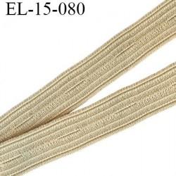 élastique boutonnière 15 mm couleur beige souple largeur 15 mm trou dans l'axe tout les 27 mm Fabriqué en France prix au mètre