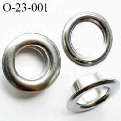 Oeillet en métal 23 mm couleur acier zingué  diamètre extérieur 23 mm diamètre intérieur 13 mm hauteur 8 mm
