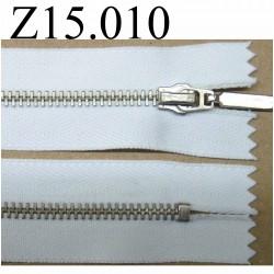 fermeture éclair longueur 13 cm couleur blanc  non séparable zip nylon largeur 2.5 cm