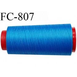 Cone de 1000 m fil mousse polyamide n° 120 couleur bleu lumineux longueur de 1000 mètres bobiné en France
