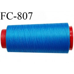 Cone de 5000 m fil mousse polyamide n° 120 couleur bleu lumineux longueur de 5000 mètres bobiné en France