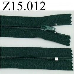 fermeture éclair longueur 13 cm couleur vert  non séparable zip nylon largeur 2.5 cm