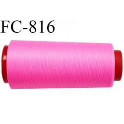 Cone de 1000 m fil mousse polyamide n° 120 couleur rose fluo longueur de 1000 mètres bobiné en France
