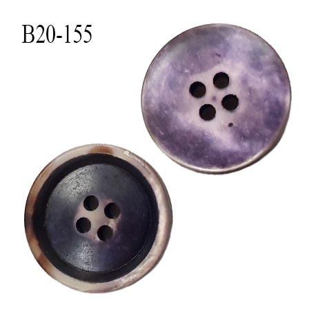 bouton 20 mm pvc très haut de gamme couleur violet foncé et clair et corne avec reflet nacré 4 trous diamètre 20 millimètres