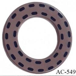 Anneau pvc 41 mm pour lingerie ou autre couleur taupe marron brillant pointillé noir diamètre extérieur 41 mm  intérieur 24 mm