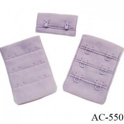 Agrafe attache 38 mm de sg 3 rangés 2 crochets largeur 38 mm hauteur 55 mm couleur orchidée ou lilas clair fabriqué en Europe