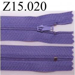 fermeture éclair longueur 15 cm couleur mauve  non séparable zip nylon largeur 2.5 cm