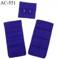 Agrafe attache 30 mm  de soutien gorge 3 rangées 2 crochets largeur 30 mm hauteur 60 mm couleur bleu fabriqué en France