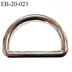 Boucle etrier 16 mm intérieur anneau demi rond fermé métal couleur chromé largeur extérieur 2 cm intérieur 1.6 cm hauteur 1.4 cm