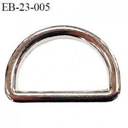 Boucle etrier 18.2 mm intérieur anneau demi rond fermé métal chromé largeur extérieur 2.3 cm intérieur 1.8 cm hauteur 1.7 cm
