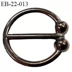 Boucle anneau étrier 15.5 mm intérieur anneau  rond fermé métal couleur acier chromé diamètre extérieur 2.1 cm intérieur 1.5 cm
