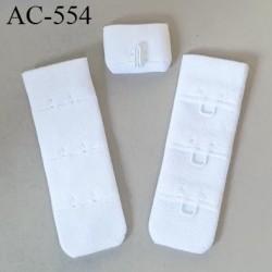 Agrafe attache 19 mm de sg  soutien gorge 3 rangés 1 crochets largeur 19 mm hauteur 55 mm couleur blanc fabriqué en France