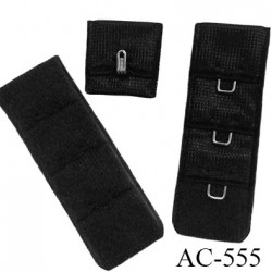 Agrafe attache 19 mm de sg  soutien gorge 3 rangés 1 crochets largeur 19 mm hauteur 55 mm couleur noir fabriqué en Europe