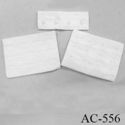 Agrafe attache 76 mm de soutien gorge 3 rangées 4 crochets largeur 76 mm hauteur 55 mm couleur blanc fabriqué en France