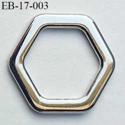 Boucle anneau étrier 12 mm intérieur anneau hexagonal fermé métal couleur chromé largeur extérieur 17 mm de coté à coté