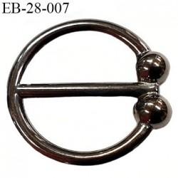Boucle anneau étrier 22 mm intérieur anneau  rond fermé métal couleur acier chromé diamètre extérieur 2.8 cm intérieur 2.2 cm