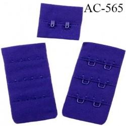 Agrafe attache 38 mm  de soutien gorge 3 rangées 2 crochets largeur 38 mm hauteur 60 mm couleur bleu maylis fabriqué en France