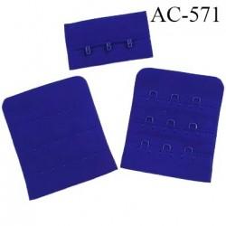 Agrafe attache 50 mm  de soutien gorge 3 rangées 3 crochets largeur 50 mm hauteur 60 mm couleur bleu maylis fabriqué en France
