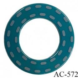Anneau pvc 41 mm pour lingerie ou autre couleur vert brillant et pointillé gris diamètre extérieur 41 mm  intérieur 24 mm