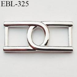 réglette ou boucle de réglage de bretelle pour soutien gorge ou autre en métal chromé   largeur intérieur 10 mm  hauteur 36 mm