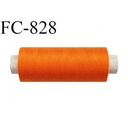 Bobine 500 m fil Polyester n° 120  orange 500 mètres fil européen bobiné en Europe ou France certifié oeko tex