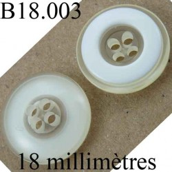 bouton 18 mm couleur blanc et transparent brillant 4 trous diamètre 18 mm