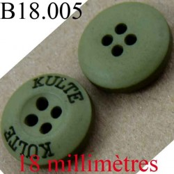 bouton 18 mm couleur vert mat inscription kulte 4 trous diamètre 18 mm
