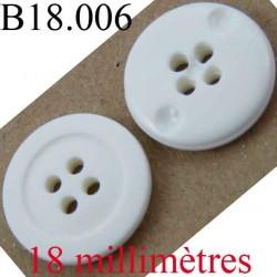 bouton 18 mm couleur blanc 4 trous diamètre 18 mm