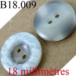 bouton 18 mm couleur gris marbré brillant 2 trous diamètre 18 mm