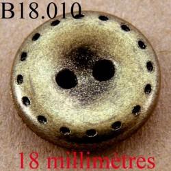 bouton 18 mm couleur doré et noir 2 trous diamètre 18 mm