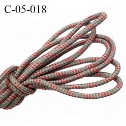 cordon synthétique 5 mm  couleur gris et rouge  diamètre 5 mm haut de gamme très solide prix au mètre