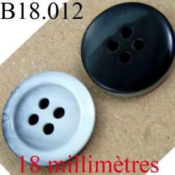 bouton 18 mm couleur marron foncé noir et gris marbré brillant 4 trous diamètre 18 mm