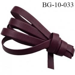 galon biais ruban façon cuir recto verso superbe largeur 10 mm couleur bordeau prune souple épaisseur 1.3 mm prix au au mètre