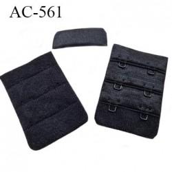 Agrafe attache 38 mm  de soutien gorge 3 rangées 2 crochets largeur 38 mm hauteur 55 mm couleur noir fabriqué en France