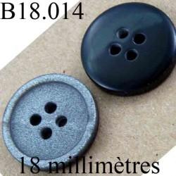 bouton 18 mm couleur noir sur une face et gris pailletté brillant sur l'autre diamètre 18 mm