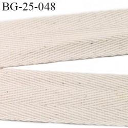 biais galon ruban sergé 25 mm couleur écru chiné  coton souple et doux largeur 25 mm prix au mètre