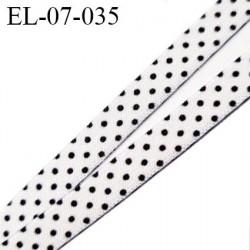 élastique  7 mm  lingerie couleur blanc à point noir satiné fabriqué en France pour une grande marque largeur 7 mm prix au mètre