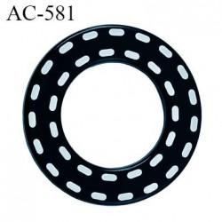 Anneau pvc 41 mm pour lingerie ou autre couleur anthracite brillant pointillé blanc diamètre extérieur 41 mm  intérieur 24 mm