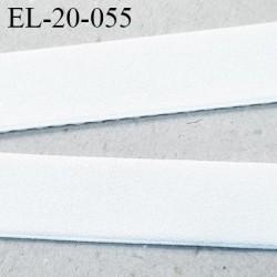 Elastique 20 mm couleur blanc une face douce et une face brillante forte élasticité  haut de gamme prix au mètre