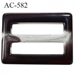 boucle rectangle plastique noir et gris marbré brillant  largeur extérieur 68 mm largeur intérieur  50 mm épaisseur 9.5 mm