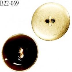 bouton 22 mm en métal 2 trous couleur or brillant avec résine intérieur couleur marron caramel diamètre 22 mm superbe